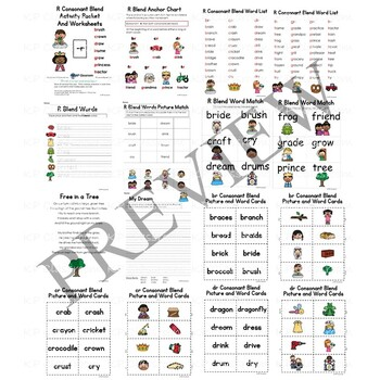 R Consonant Blend Activity Packet and Worksheets