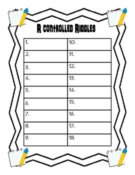 R Controlled Riddle Clue Cards