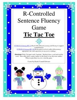 R-Controlled Sentence Fluency Tic Tac Toe