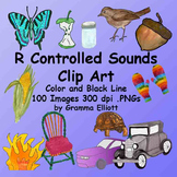 R Controlled Vowels in Realistic Color and BW Clip Art for Ur Ar Er Or Ir Air