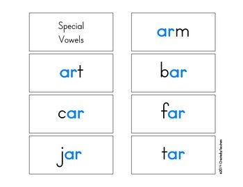 R-Controlled & Special Vowel Color Flash Cards