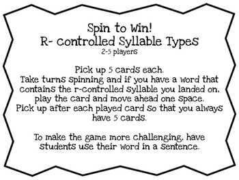 R-Controlled Syllable Spin to Win Game! ar, er, ir, or & ur
