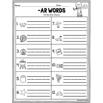 R Controlled Vowel- AR Words: Write the Room