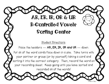 R-Controlled Vowel Center - AR, ER, IR, OR and UR - with Recording Sheet