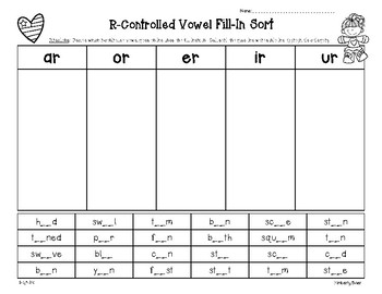 R-Controlled Vowel Fill-In Sort - AR ER IR OR UR