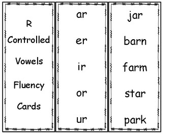 R-Controlled Vowel Fluency Cards