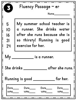 R Controlled Vowel Fluency Sentences and Passages