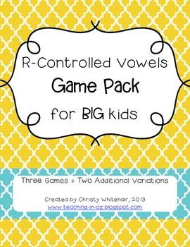 R-Controlled Vowel Game Pack for Bigger Kids MTSS/RTI