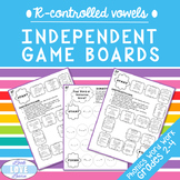 Phonics Word Work: R Controlled Vowel Independent Game Boards
