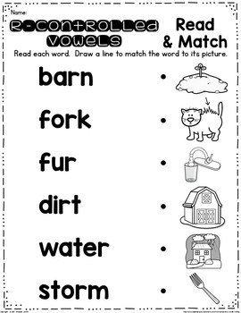 R-Controlled Vowel Read and Clip Cards