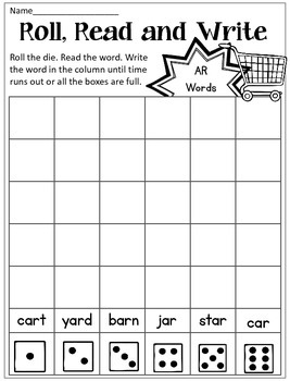 R Controlled Vowel Roll, Read, Write Dice Game