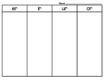 R-Controlled Vowel Sort