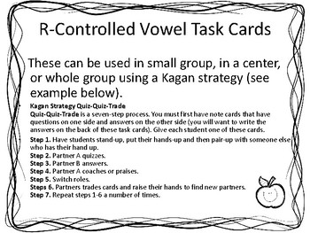 R Controlled Vowel Task Cards for Literacy Centers and Kagan