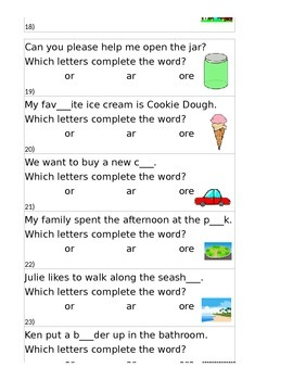 R - Controlled Vowel Task Cards - or, ore, and ar