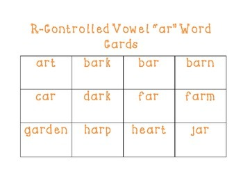 R-Controlled Vowel Word Cards (ar, er, ir, or, and ur)