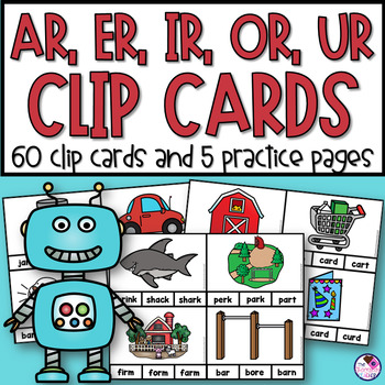 R- Controlled Vowel Word Clip Cards and Printables 60 Cards!