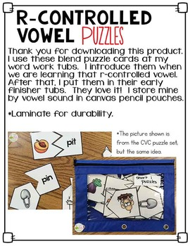 R-Controlled Vowel Word Puzzles