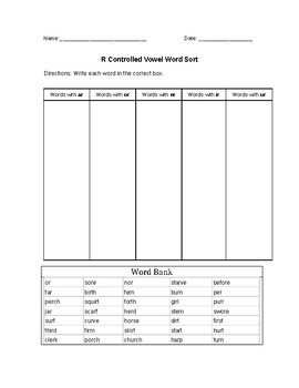 R Controlled Vowel Word Sort