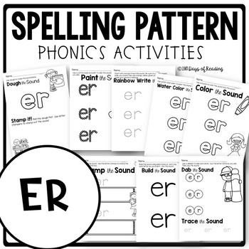 R Controlled Vowel Worksheets ER by 180 Days of Reading   TpT