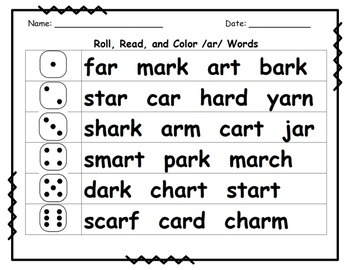 R-Controlled Vowel /ar/ Mini Packet