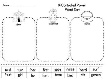 r controlled vowel er ir ur word sort by mrstucker tpt. Black Bedroom Furniture Sets. Home Design Ideas