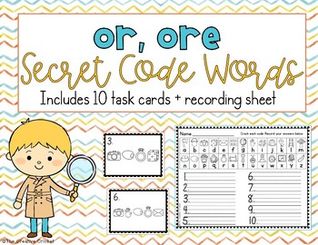 R-Controlled Vowel or, ore Word Work - Secret Code Words