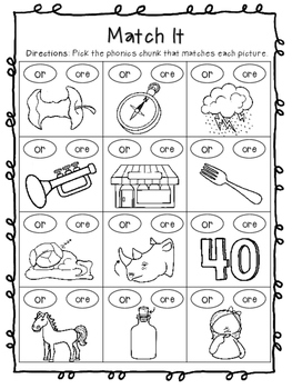 R-Controlled Vowel - or ore - Worksheets