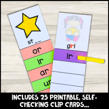 R Controlled Vowels Clip Cards for Phonics Centers and Phonics Activities