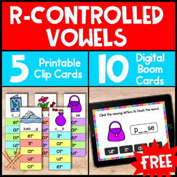 Phonics Activity: R Controlled Vowels Free Phonics Clip Cards