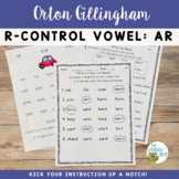 R Controlled Vowels AR Orton-Gillingham Level 2 Multisensory Phonics Activities
