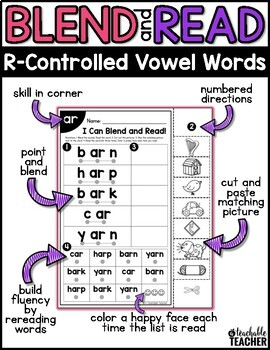 R Controlled Worksheets | Blending & Reading Words with R-Controlled Vowels