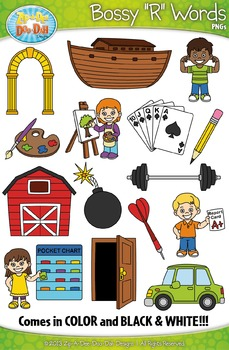 Bossy R Words / R Controlled Vowels Clipart Set — Includes