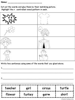 R Controlled Vowels Bossy R Worksheets And Activities Tpt