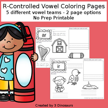 R-Controlled Vowels Coloring Pages