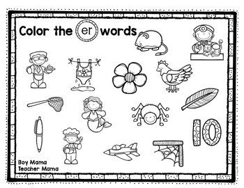 R Controlled Vowels Coloring Sheets With Short a Pictures