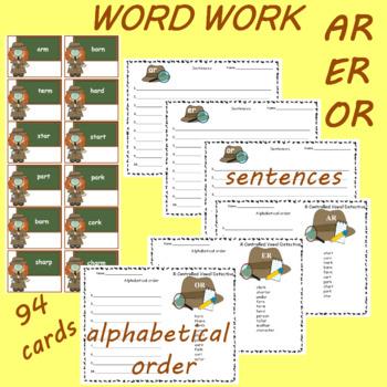 R Controlled Vowels Detectives AR ER OR Word Work