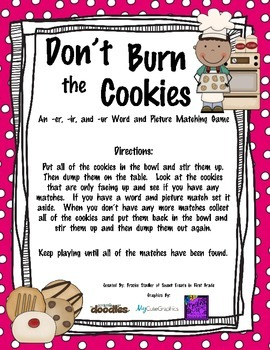 R-Controlled Vowels - Don't Burn the Cookies Word and Picture Matching Game