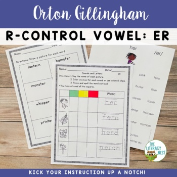 R Controlled Vowels ER Orton-Gillingham Level 2 Multisensory Phonics Activities