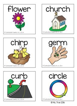 R-Controlled Vowels: ER, IR & UR (Color & BW)