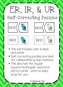 R-Controlled Vowels: ER, IR & UR Self-Correcting Puzzles