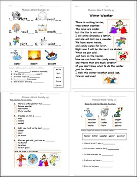 R Controlled Vowels ER poem short story Phonics activity word Family
