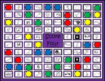 """R – Controlled Vowels Game """"Score Four"""""""