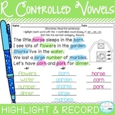 R Controlled Vowel Word Work