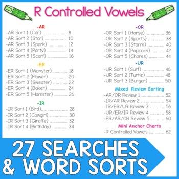 R Controlled Vowel Word Work