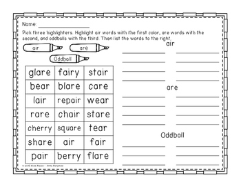 R-Controlled Vowels Highlight Sorts