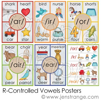 R-Controlled Vowels Learning Set - 10 items for spelling and sorting fun!