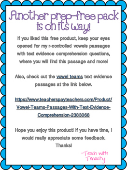 R-Controlled Vowels Passage With Text Evidence FREEBIE (UR)