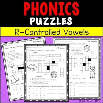 R Controlled Vowels Puzzles - Crossword and Wordsearch