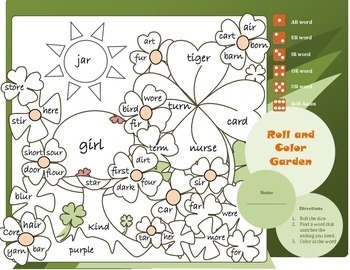 R Controlled Vowels: Roll and Color Garden