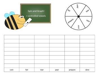 R Controlled Vowels Spin and Graph Word Work - 13 pages of no-prep activities